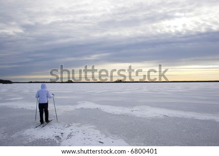 Evening cross-country winter skiing on the lake?s ice in Voyager National Park