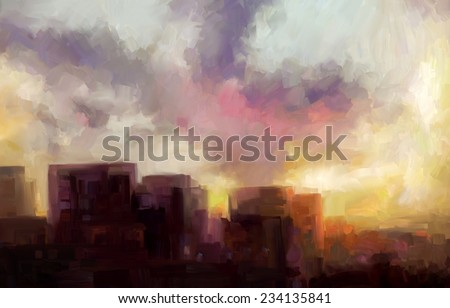 Evening fire of the city sunset. Cloudy sky and skyscrapers. Landscape. Digital painting. Sketchy style.  - stock photo