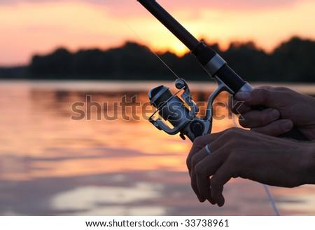 Evening fishing - stock photo