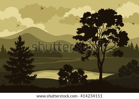 Evening Forest Landscape, Silhouettes Maple and Fir Tree, Bushes, Grass on the Mountain Lake Bank and Cloudy Sky with Birds.