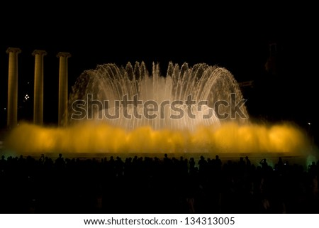 Evening fountain show in Barcelona