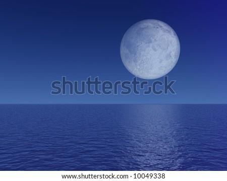 Evening Full Moon Over Sea - stock photo
