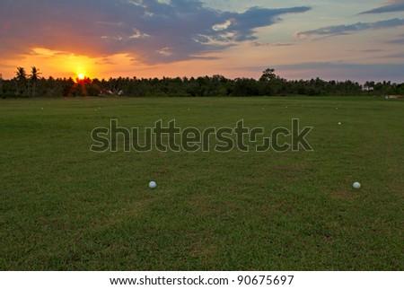 Evening golf field - stock photo