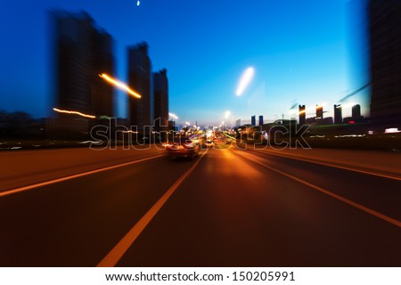 Evening highway - stock photo