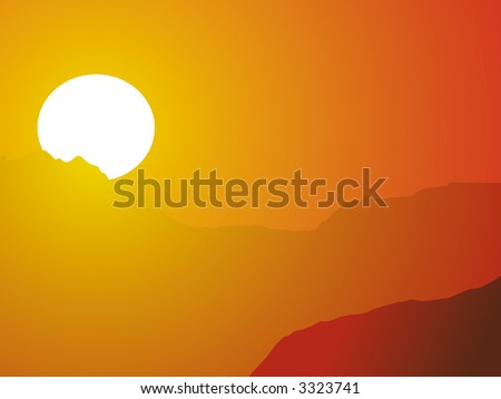evening hot sun as a background - stock photo