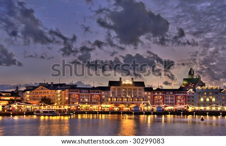 Evening  illuminated quay at lake in region of Orlando - stock photo