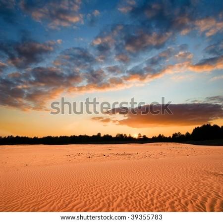 evening in a desert - stock photo