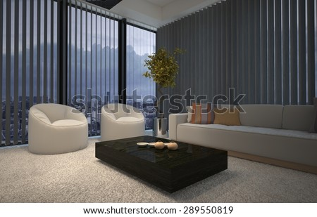 evening in a modern comfortable living room lit by a warm welcoming glow with armchairs and