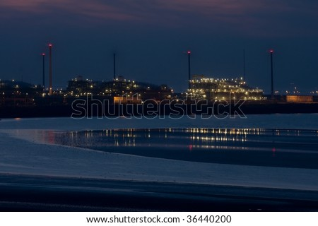 Evening  in a port - stock photo