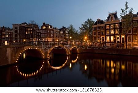 Evening in Amsterdam - stock photo