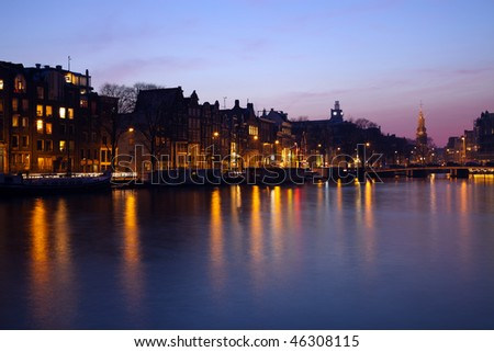 Evening in Amsterdam - seen during the winter. - stock photo