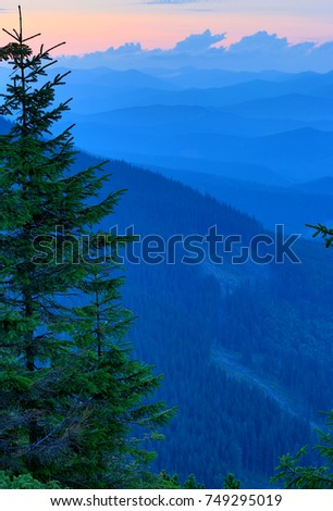 Evening in Carpathians, take it in Ukraine