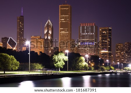 Evening in Chicago, ILlinois, USA. - stock photo