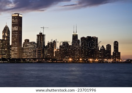 Evening in Downtown Chicago, IL. - stock photo