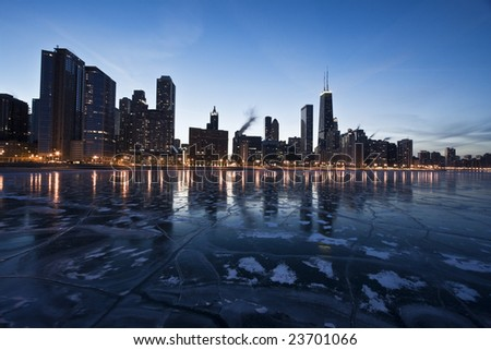 Evening in Downtown Chicago, IL, Gold Coast. - stock photo