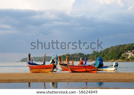 Evening in Kamala bay in Thailand island Phuket - stock photo