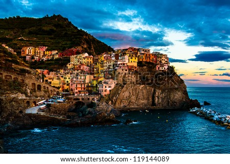 Evening in Manarola, a beautiful village in the National park of Cinque Terre, Italy - stock photo