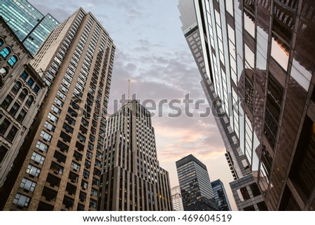 Evening in New York City. Manhattan modern architecture