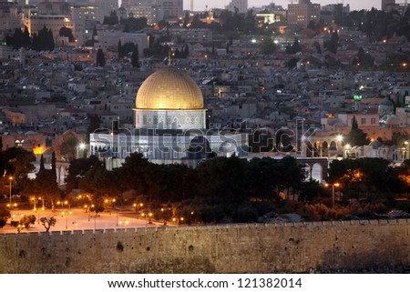 Evening in Old City, Temple Mount with Dome of the Rock view from the Mt of Olives in Jerusalem