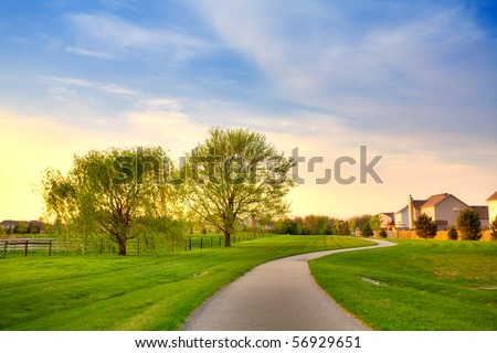 Evening in suburbs - stock photo