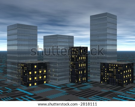 Evening in the city. 3D illustration
