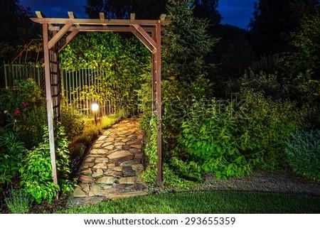 Evening in the Garden. Garden Illumination at Night.  - stock photo