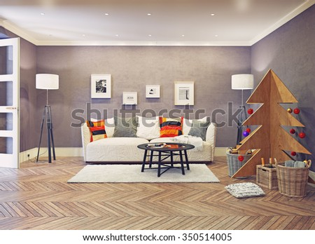 evening interior with plywood Christmas tree. 3d concept - stock photo