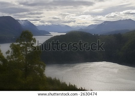 Evening Lacar Lake in Patagonia