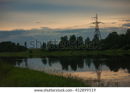 evening landscape and tower power