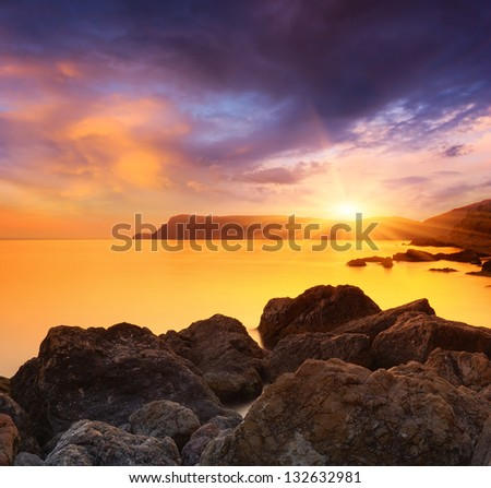 Evening Landscape by the sea with a magical sunset