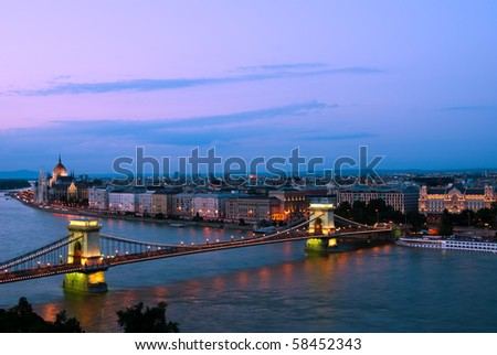 Evening landscape of Budapest, at the sunset time - stock photo