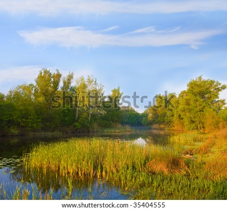 evening landscape on river - stock photo