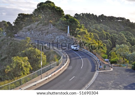 Evening landscape with highway on mountain at Mt Gambier, Australia
