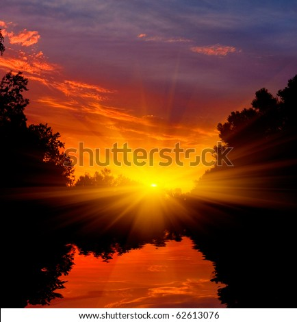 evening landscape with sunset on river - stock photo