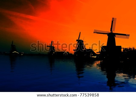 Evening Landscape with windmill Netherlands - stock photo