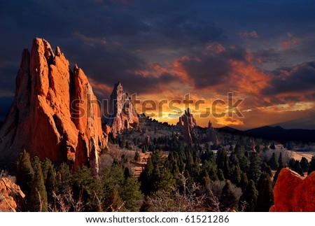 Evening Light at the Garden of the Gods Park in Colorado Springs, Colorado. - stock photo