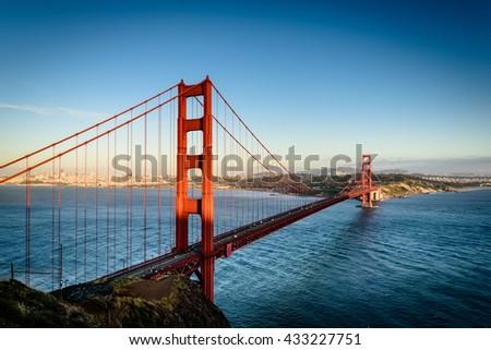 Evening light hitting Golden Gate Bridge in San Francisco. - stock photo