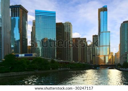 Evening light of Chicago - stock photo