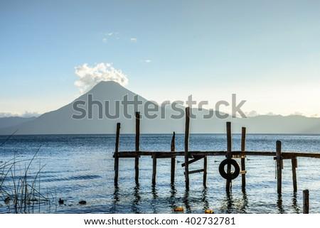 Evening light on San Pedro volcano & Lake Atitlan, Guatemala - stock photo