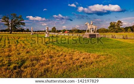 Evening light on the battlefields of Gettysburg, Pennsylvania - stock photo