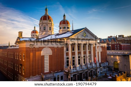Evening light on the York County Courthouse, in downtown York, Pennsylvania. - stock photo