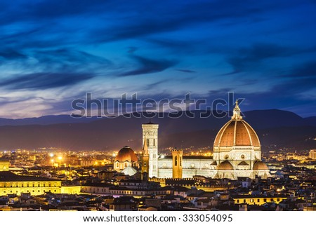 Evening light over beautiful Florence, capital of Tuscany, Italy