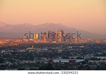 evening light with downtown of California - stock photo