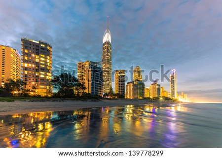 Evening lights on the beach in Surfers Paradise, Gold Coast, Australia - stock photo