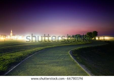 Evening misty path - stock photo