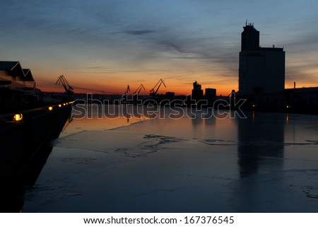 Evening mood in the harbour - stock photo