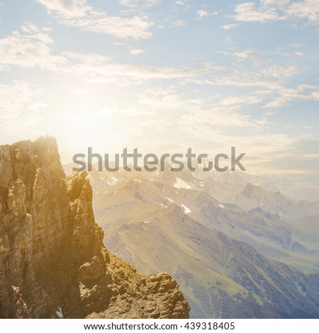 evening mountain valley landscape - stock photo