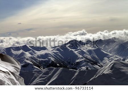 Evening mountains. Caucasus Mountains, Georgia, Gudauri. - stock photo
