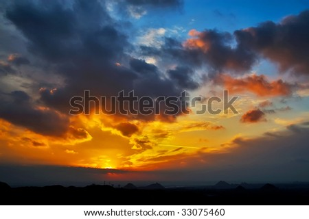 Evening of colliery town in Ukraine - stock photo