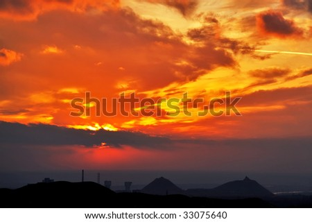 Evening of colliery town in Ukraine Donbass - stock photo